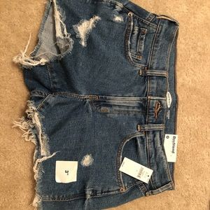 ripped dark wash denim shorts from old navy